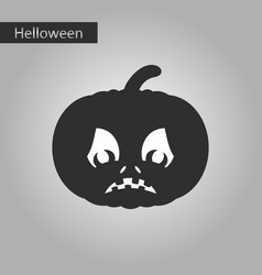 Black and white style icon of halloween pumpkin vector