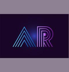 blue pink ar a r gradient alphabet letter vector image