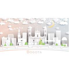 bogota colombia city skyline in paper cut style vector image