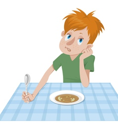 boy eating at a table vector image