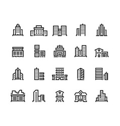 building line icons business center with offices vector image