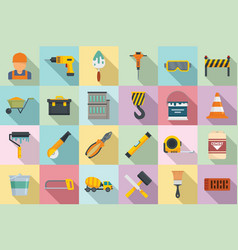 Building reconstruction icons set flat style vector