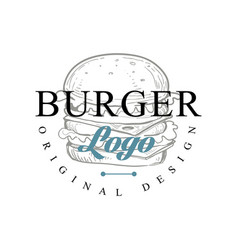 burger logo original design retro emblem for vector image