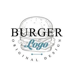 burger logo original design retro emblem vector image