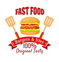 Burger shop or fast food cafe retro badge design vector