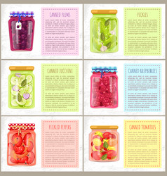 Canned plums and pickles set vector