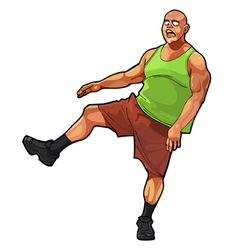 cartoon funny guy muscular jumping on one leg vector image