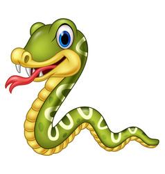 cartoon happy snake isolated on white background vector image