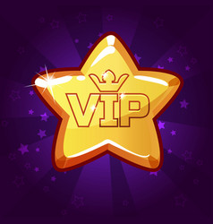 Cartoon vip gold star vector