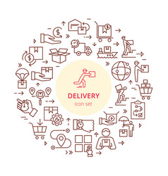 circular colorful template delivery logistic set vector image