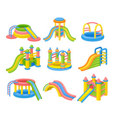 Colorful inflatable slides concept flat vector