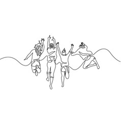 Continuous one line drawing group jumping friends vector