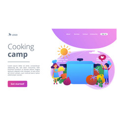 cooking camp concept landing page vector image