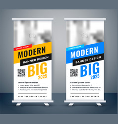 Creative blue and yellow rollup standee banner vector