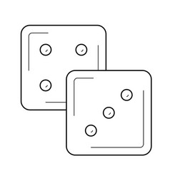 Dice cubes line icon vector