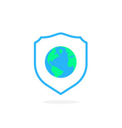 Earth in shield like global security icon vector