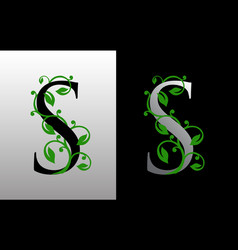 elegant s letter icon with luxury green leaf logo vector image