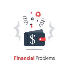 Empty wallet financial problem money loss debt vector