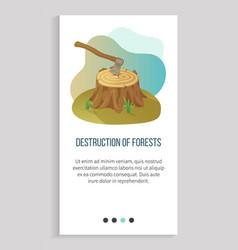 Environmental problem deforestation and ax app vector