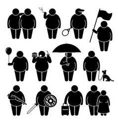 Fat man holding using various objects stick vector