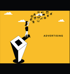 female doing advertising vector image