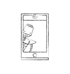figure smartphone technology with robot machine vector image