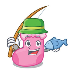 fishing sock mascot cartoon style vector image