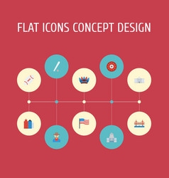 Flat icons america sport bridge and other vector