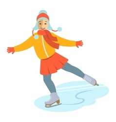 Girl figure ice skating cartoon vector