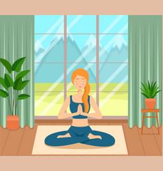 girl sitting crossed legs in room practicing yoga vector image