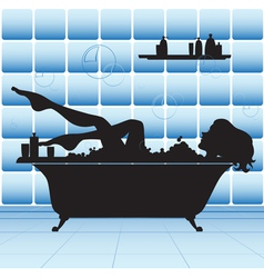 girl take bath vector image