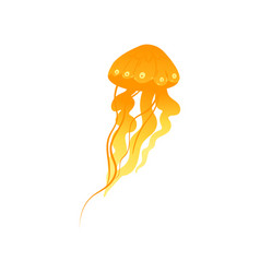 Glowing yellow jellyfish drawing - colorful hand vector