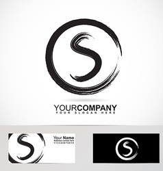 Grunge letter S circle logo vector image