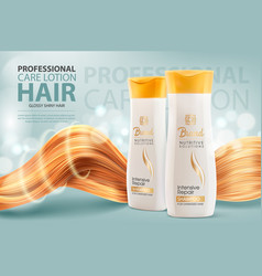 Hair shampoo or conditioner cosmetic bottles vector