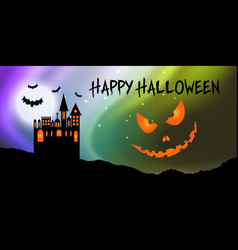 halloween banner with castle and pumpkin face vector image