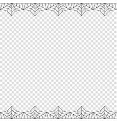 Halloween double spider web border on transparent vector