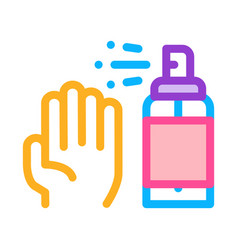 hand and bottle spray icon outline vector image
