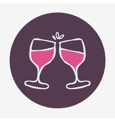 Hand-drawn celebratoin icon with two wine glasses vector