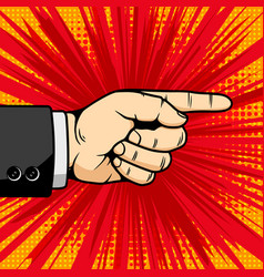 hand with pointer sign in comic book style design vector image