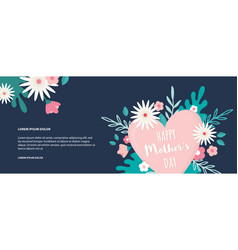 happy mother day banner with colorful flowers and vector image