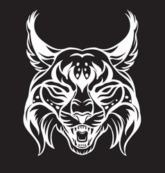Head mascot lynx isolated on black vector