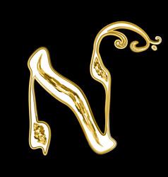 Hebrew golden calligraphic alphabet golden font vector