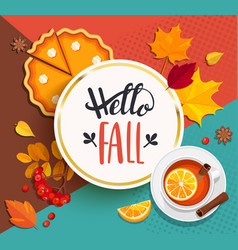 hello fall lettering in gold frame vector image