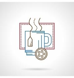 Hot tea mug thin color line icon vector image