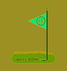 Icon in flat design golf course well done vector