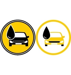 Icons with car and fuel oil drop vector