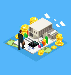 Isometric finance and investment concept vector