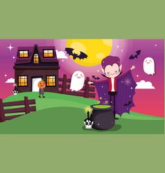 kids costume trick or treat happy halloween vector image