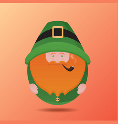 leprechaun with a pipe on st patrick39s day vec vector image