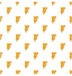 Letter f from honey pattern vector